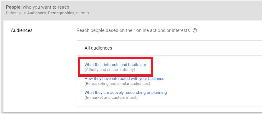 Custom Affinity Audiences