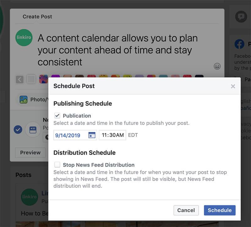 Facebook content scheduling